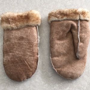Suede Faux Fur Lined Mittens, Large